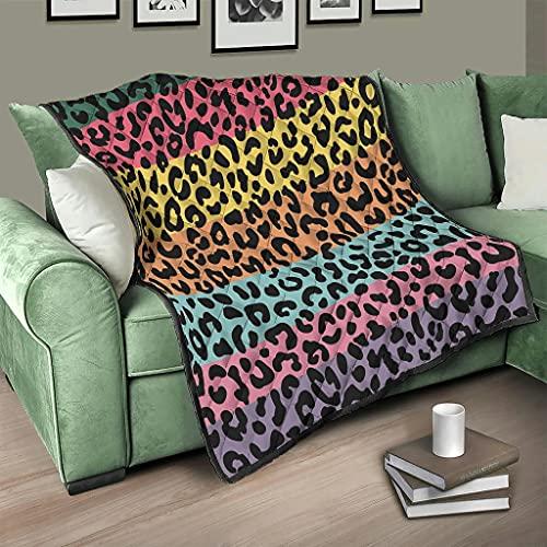 AXGM Colcha de microfibra multicolor con estampado de leopardo arcoíris, 150 x 200 cm