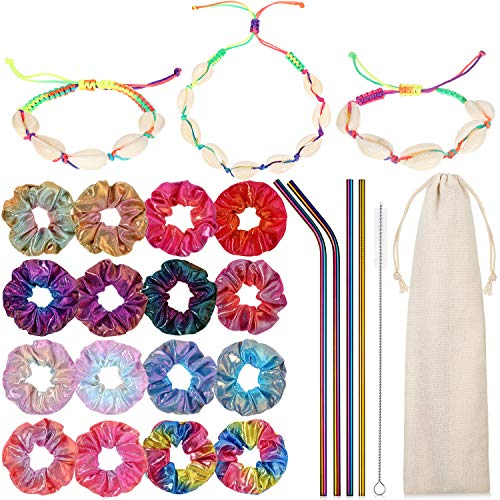 VSCO Girls Starter Stuff Accessories Set Include Shell Necklace Choker Anklet Bracelet Set Metallic Shiny Hair Scrunchies Elastic Hair Bands and Metal Colorful Straws with Brush and Storage Bag for Te