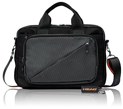 HEAD Businesstasche Arbeitstasche Herren mit Laptopfach, Messenger Bag Große Umhängetasche Bürotasche mit RFID Fach – Größe M, Schwarz