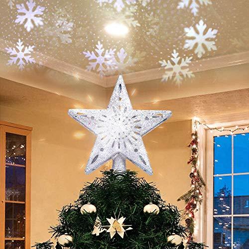 Etoile Sapin de Noel, 2 en 1 Lampe Projecteur LED Flocon de