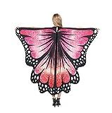 chaochao Chal de Alas Mariposa para Mujeres Accesorio para Cosplay Disfraz Halloween Fiesta Bufanfa Alas de Mariposa Multicolores (Rojo, 135cm*168cm)
