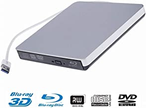 External Blu-Ray CD DVD Drive,USB 3.0 Portable BD 3D Blu-Ray Player DVD/CD-RW BD-ROM Burner Compatible with Windows 10/8/7/XP/Vista MAC OS System for Laptop/Desktops PC (Sliver.)
