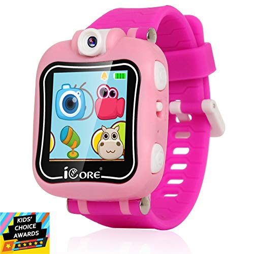 iCore Kids Smart Watch, Rotatable Camera Smart Watch for Kids, Built-in Games Watches, Best Smartwatch Christmas Birthday Gifts for Boys Girls Ages 4-12 (Pink)