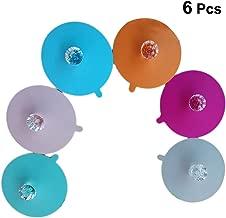 6 Pcs 11CM Transparent Diamond Cup Lids Dust-Proof Silicone Mug Cover Bright Color Drink Cup Lids (Random Color)