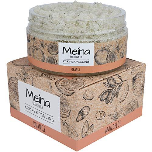 Meina Natuurcosmetica - Lichaamspeeling met oranje - Bio gezichtspeeling en lippenpeeling voor dames en heren (1 x 280 g) Face, Lip, Body Scrub Peeling