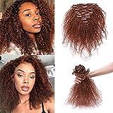 Silk-co Clip Extension Capelli Veri Mossi Kinky Curly Afro Hair Extensions 100% Remy Virgin Hair 8 Pezzi Capelli Brasiliani 20cm-95g #30 Castano Ramato Chiaro