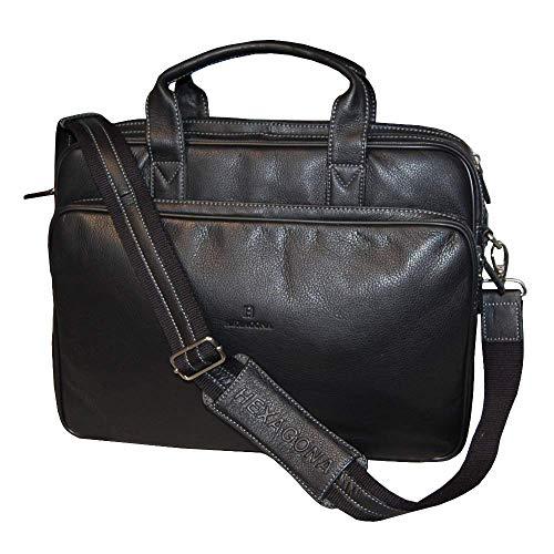 HEXAGONA Aktentasche Laptop Tasche aus Leder Messangerbag Ledertasche