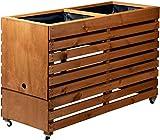 dobar rollbares XXL Hochbeet aus Holz mit Boden, Frühbeet Bausatz für Gemüse, Kräuter im Garten und Balkon, 115 x 45 x 75 cm, braun