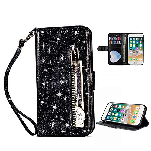 Techcircle Glitter Case for iPhone SE 2020/iPhone 7/iPhone 8 (4.7-inch) Wallet Case...