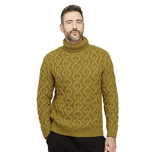 Pullovers heren trui coltrui van wolmix kleur Olijf groene
