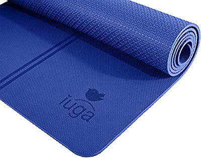 """IUGA Eco Friendly Yoga Mat Alignment Lines, Free Carry Strap, Non Slip TPE Yoga Mat All Types Yoga, Extra Large Exercise Fitness Mat Size 72""""X26""""X1/4"""""""