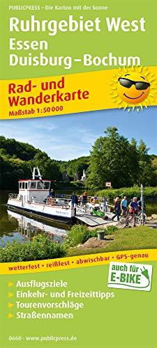 Ruhrgebiet West, Essen, Duisburg - Bochum: Rad- und Wanderkarte mit Ausflugszielen, Einkehr- & Freizeittipps, wetterfest, reißfest, abwischbar. 1:50000 (Rad- und Wanderkarte: RuWK)
