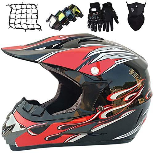 Casco de Moto, MJH-03 Conjunto de Casco de Motocross Niños & Adultos con Gafas/Máscara/Guantes/Red elástica (5 piezas) Casco Integral MTB MX Enduro Motocicleta - Certificación DOT/ECE, Negro Rojo