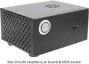 Geekworm Raspberry Pi X820 V3.0 - Placa de Almacenamiento SATA para Disco Duro y SSD (Carcasa de Metal, Interruptor de Control de Potencia y Ventilador de refrigeración)