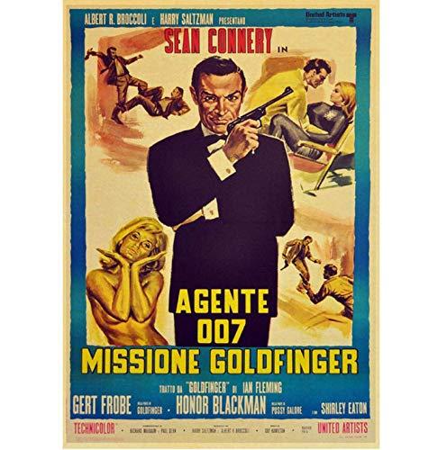 N/P Movie Poster British Legend James Bond 007 Retro Poster Tela di Carta per La Casa Soggiorno Decorazione Adesivo Murale Pittura 50 * 70 Cm Senza Cornice