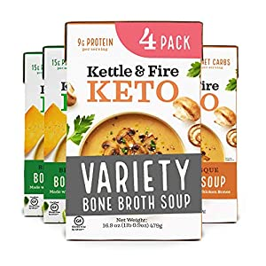Keto Soup with Bone Broth Variety Pack by Kettle and Fire, Pack of 4, 2 Broccoli Cheddar, 2 Mushroom Bisque, Organic Vegetables, Diet Friendly Grocery Food, Snack, Drink from Kettle & Fire