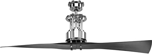 lowest Progress Lighting P2570-15 lowest Protruding Mount, lowest 2 Black Blades Ceiling fan, Polished Chrome outlet online sale