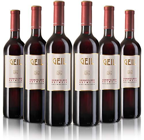 6 Flaschen Johann Geil | Dornfelder Rotwein trocken | 2018 | Deutscher Wein | Qualitätswein | Oekonomierat Johann Geil Erben | Reihnhessen | Nr. 1807