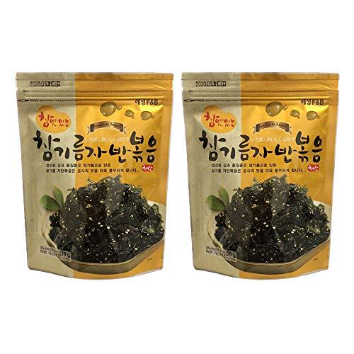 Korean Premium Roasted and Sea Salted Seasoned Seaweed Laver Snack 50g (Pack of 2)