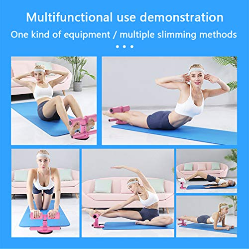 WM'SPARKLE Sit-up Aid,Sit-ups Assistant Device,Household Fitness Equipment for Abdominal Muscle Exercise Machine Portable Self-Suction Situp bar (Pink) 7