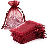 Dkrsyz Pack of 100 Gift Organza Bags Wine Drawstring 4x6 Inches for Baby Shower,Christmas,Toddler Birthday,Party Favor,Wedding,Graduation,Holiday Sheer Mesh Fabric Wrap Tulle Voile Sachet for Jewelry