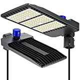 300W Parking Lot Lights, ETL DLC Certified Waterproof IP66 Commercial LED Area Lighting, 5000k Pole Light with Dusk to Dawn Photocell- Slip Fitter, LED shoebox Light, Black