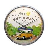 Nostalgic-Art - Orologio da parete in stile retrò Volkswagen Bulli – Let's Get Away – idea regalo per VW Bus – Grande orologio da cucina vintage decorazione 31 cm