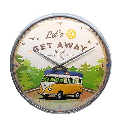 Nostalgic-Art 51092 VW Bulli - Let\'s Get Away, Wanduhr 31 cm, hochwertige Quartz-Uhr, Echtglas-Front und Metall-Rahmen