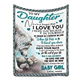 Personalized Custom Name Message Blanket to My Daughter from Dad or Mom, Never Forget That I Love You, Warm Super Soft Winter Night Micro Fleece Throw Blanket 30 x 40 Inches