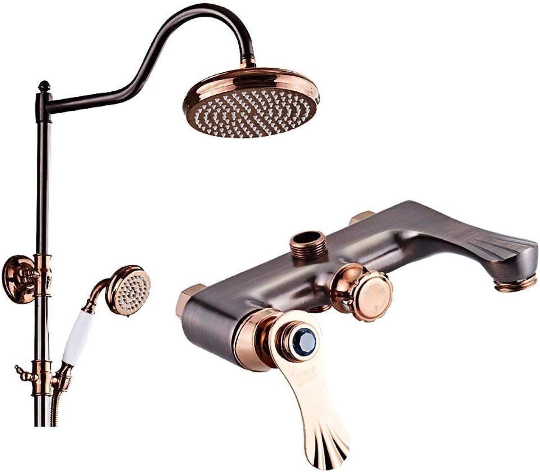 ZCG GGShower Bad Dusche Wasserhahn Set Vintage Duschset Duschset aus Kupfer im europischen Stil für Badezimmer Wandmontierte Handbrause mit Einstiegsleisten 1200  800 mm (Farbe   B)
