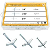Sutemribor 1/8 Inch, 3/16 Inch, 1/4 Inch Toggle Bolt and Wing Nut for Hanging Heavy Items on Drywall (36 PCS)