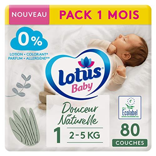 LOTUS BABY Douceur Naturelle - Couches Taille 1 (2-5 kg/Nouveau-né) Pack 1 mois - 80 couches
