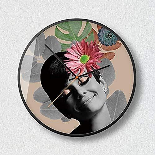 GANE Maquillaje Mujer Flower On Time World Reloj de Pared silencioso, 12 Pulgadas Carcasa de Metal, Sala de Estar Reloj de Cuarzo Redondo Minimalista Moderno, 14 Pulgadas