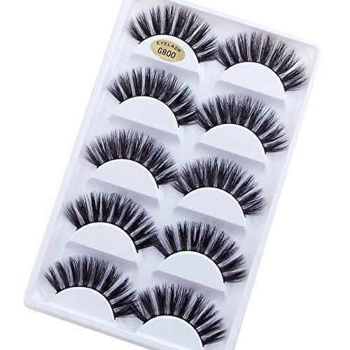 5 paires de cils de vison 3D faux cils épais croisés maquillage extension de cils volume naturel doux faux cils (Color : F)
