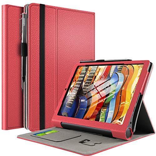 IVSO Funda Carcasa para Lenovo Yoga Smart Tab, Slim PU Protectora Carcasa Cover para Lenovo Yoga Smart Tab 10.1 Pulgadas, Rojo