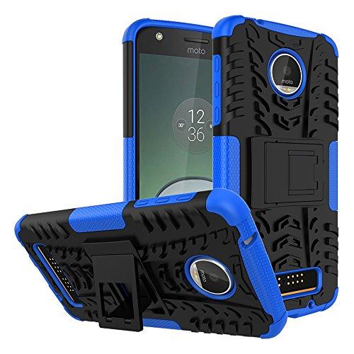 Capa para Motorola Moto Z Play à prova de choque, capa híbrida para Moto Z Play Droid, proteção de camada dupla à prova de choque, capa rígida híbrida resistente com suporte para Motorola Moto Z Play de 5,5 polegadas (azul marinho)