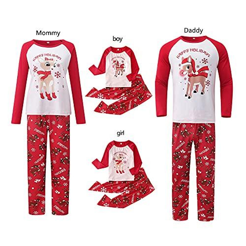 Conjunto de pijama familiar de Navidad de invierno con diseño de reno para el hogar