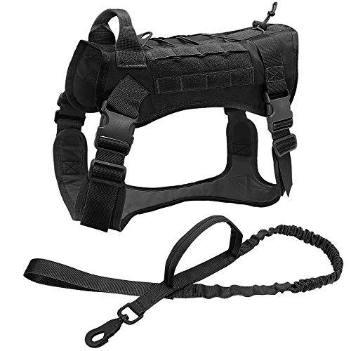 Chaleco para Mascotas Arnés táctico para Perros Ropa para Perros de Trabajo Militar Conjunto de Correa para Perros Arnés para Perros Perro Mediano Grande Pastor alemán-Black_Set_XL