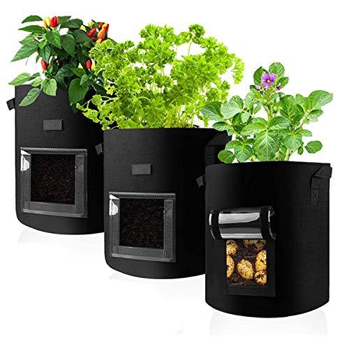 NKIE Werkzeug Grow Bags for Vegetables, Three-dimensional Felt Planting Bags, Visualized Vegetable Nursery Pot, Felt Plant Growth Bag Nursery Pot (13.8 * 17.8in) Black Haus & Garten (Color : Black)