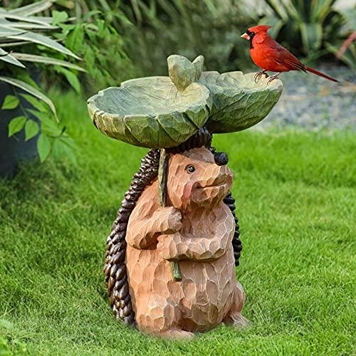 Sunflower Bird Bath Bowl Feeder Combo for Outdoor, Hedgehog Statue Sculpture Garden Decor, Standing Tree Stump Birdbaths, Wild Butterfly Bee Bird Feeders for Yard Lawn Patio Garden Stake Decoration