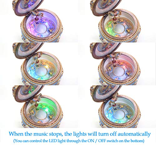 Amperer Classical Carousel Horse Music Box LED Lights Twinkling Resin Carved Collectible Mechanical Musical Box with… 8