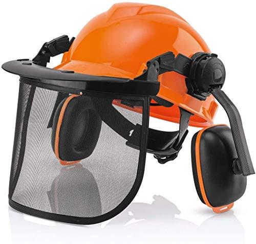 Casco de seguridad forestal industrial: sistema de protección auditiva y facial, casco profesional forestal con visor Combo Set, orejeras y viseras extraíbles por CUKUGUARD ✅