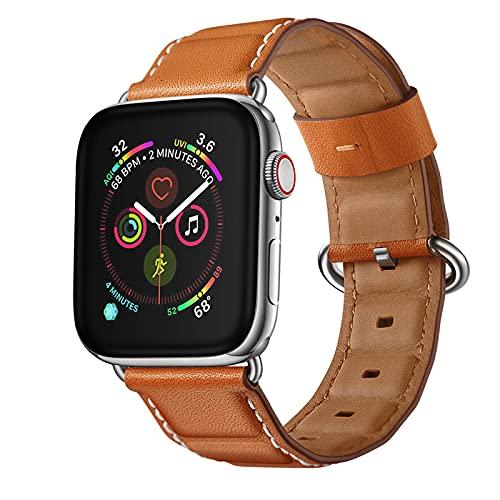 Cuero Correas Compatible con iWatch Series 6 SE 5 4 Series 3 2 1 Correa 38/40mm 42/44mm Piel Pulseras Brazaletes Bandas con Hebilla Reemplazo Reloj Watch Bands,Brown,42/44mm