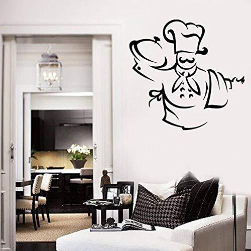 Chef Patroon Muursticker Chef Hoed Schort Handdoek Geniet van uw maaltijd Keuken Decor voor Restaurants Eetkamer Vinyl Muursticker 30X31 cm