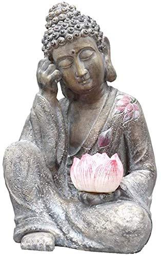 WJJ Adornos Jardin Adornos Jardin Exterior Jardín Sentado Estatua De Buda Escultura, Resina Buda Estatua Lámpara Solar Arte Artesanía Zen Garden Personalidad Decoración H50CM