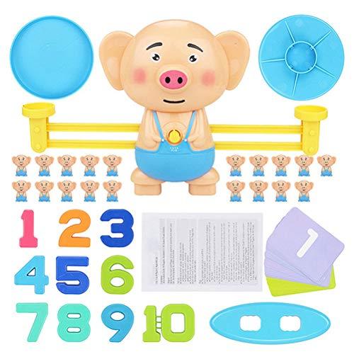 Kylewo Juego de Equilibrio, balanza Digital Libra Toy Early Learning Balance Niños Iluminación Suma y resta Digital Escalas matemáticas Juguetes