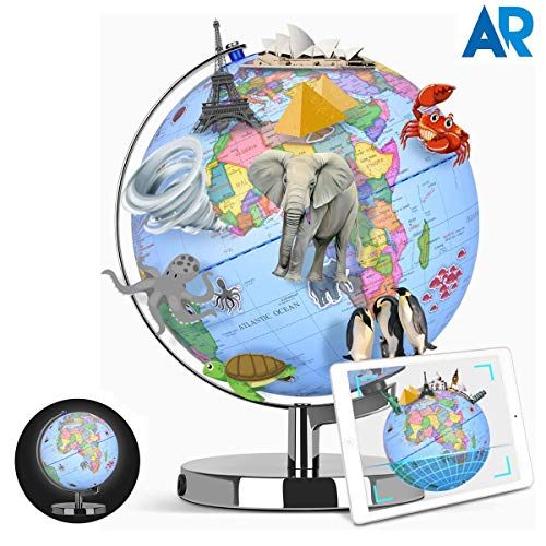 Smart Globe, Globes of The World with Stand Augmented Reality Educational World Geography, AR App Experience, 10 Educational Content, Realistic 3D Scenes, LED Light Globe for Kids Learning