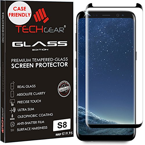 TECHGEAR Screen Protector for Galaxy S8 - [Case Friendly] 3D GLASS Edition Tempered Glass Screen Protector Guard Cover Compatible with Samsung Galaxy S8 (Black)