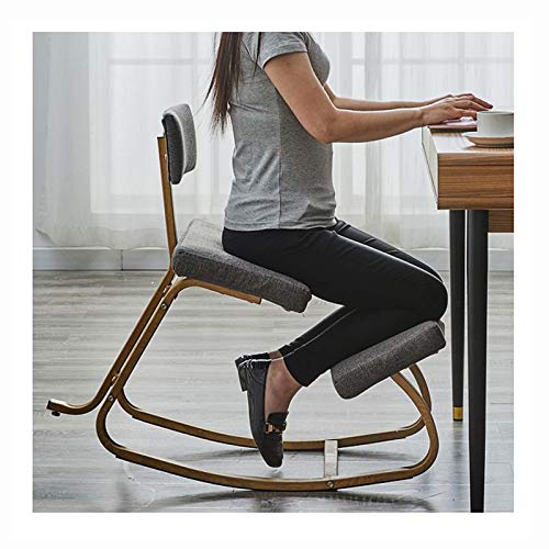 Ergonomic Kneeling Chair with Back Support, Posture Correction Kneel Stool for Home Office with Angled Seat for Better Posture - Thick Comfortable Cushions, Gray
