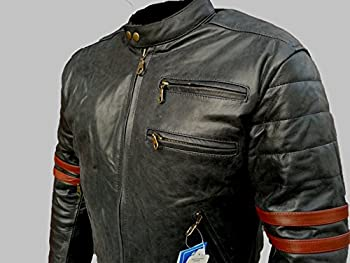 Bikers Gear UK veste de Moto couleur Black & Oxblood en cuir travaille Blouson modèle Café Racer Hybrid avec Protection approuvées CE - Large